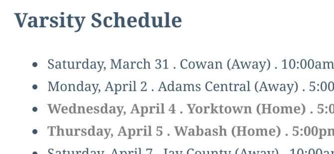 Spring athletics schedule released